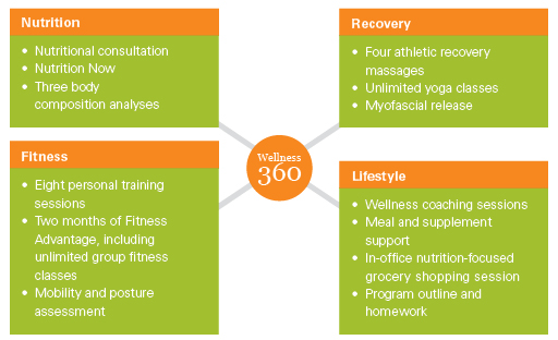 Chart outlining Wellness 360 Offerings