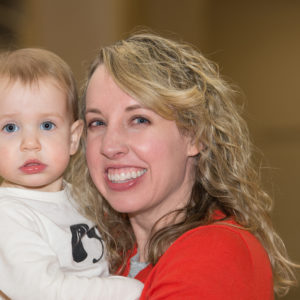 A daughter and her infant child at Family Fun Night February 2017.