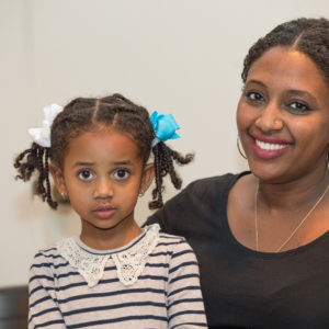 A mother and her daughter at Family Fun Night February 2017.