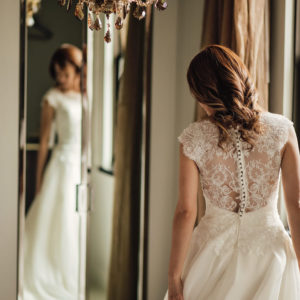 Bride in front of the mirror