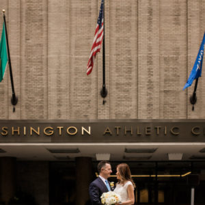 Couple standing in front of the WAC